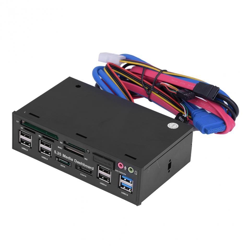 Freeshipping 5.25inch Media Dashboard Front Panel USB3.0 / 2.0 HUB eSATA SATA Audio Multi Card Reader для компьютерных футляров Оптические приводы Bay