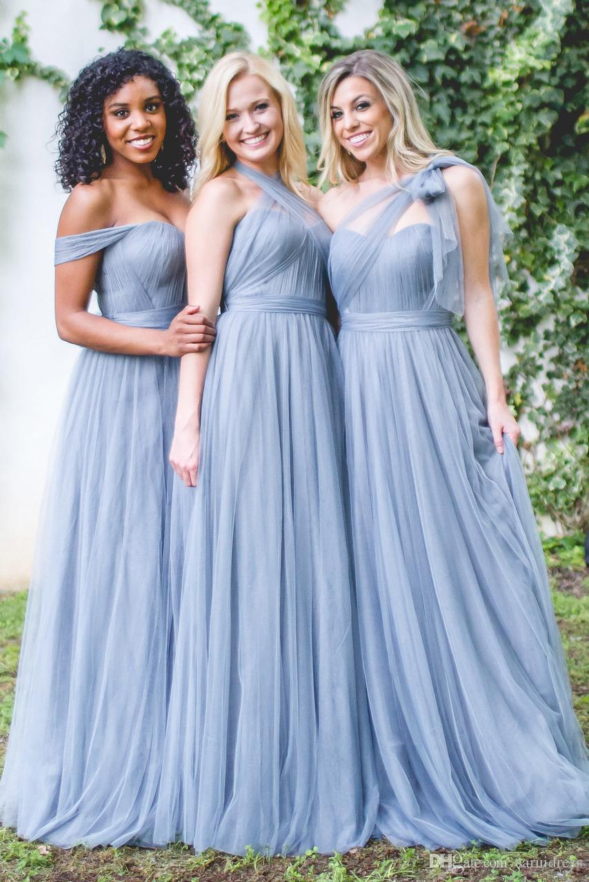 ROSALIE TULLE CONVERTIBLE DRESS A Line Floor Length Formal Wedding ...