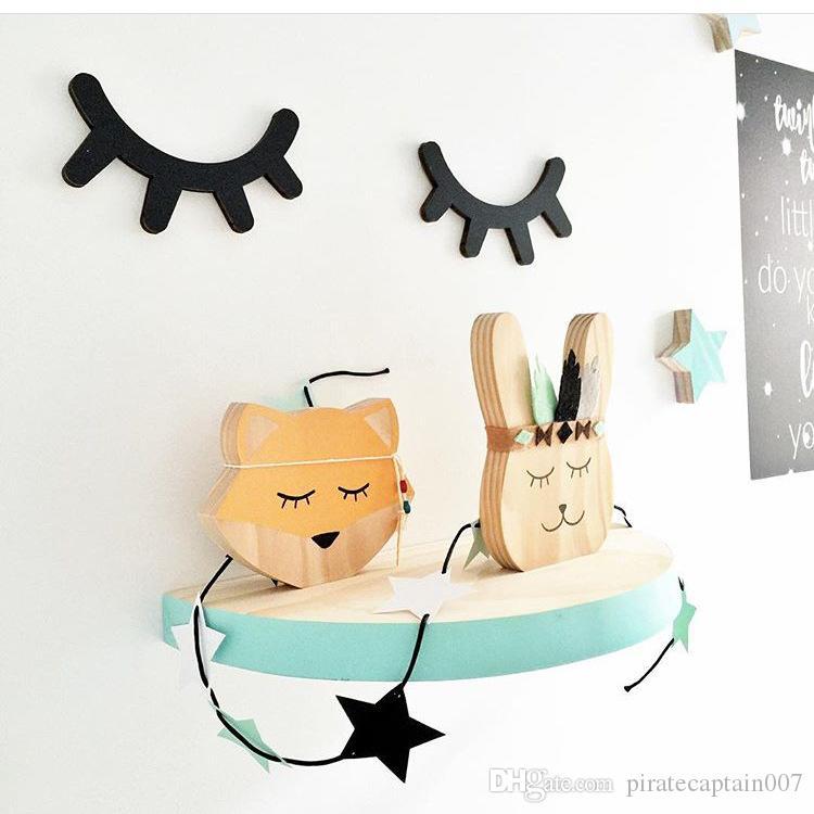 Nordic Style Cute Wood 3D Eyelash Wall Decor Eye lash Wall Stick Children Kids Baby Room Background Wall Sticker Home Decoration