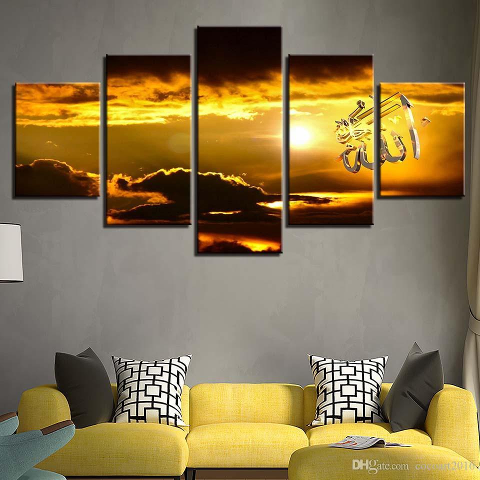 Satın Al Tuval Boyama Hd Baskılar Ev Dekorasyon 5 Parça Ayarı Güneş