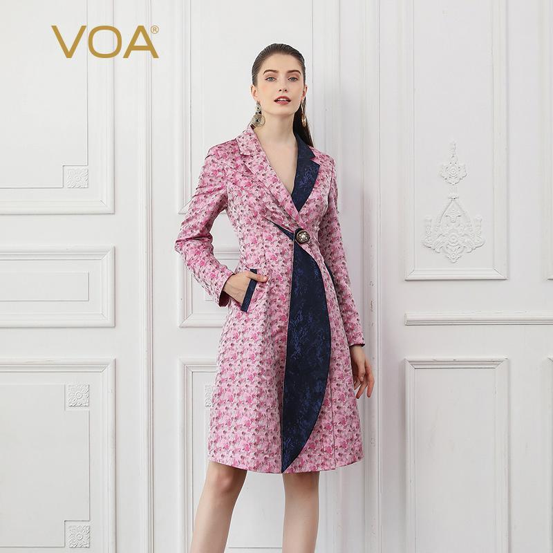 0e313e4e042 2019 VOA Silk Trench Coat Women Romance Sakura Pink Autumn Long Sleeve  Tunic Outerwear Elegant Ladies Large Size Slim Crystal F317 From  Cashmere52, ...