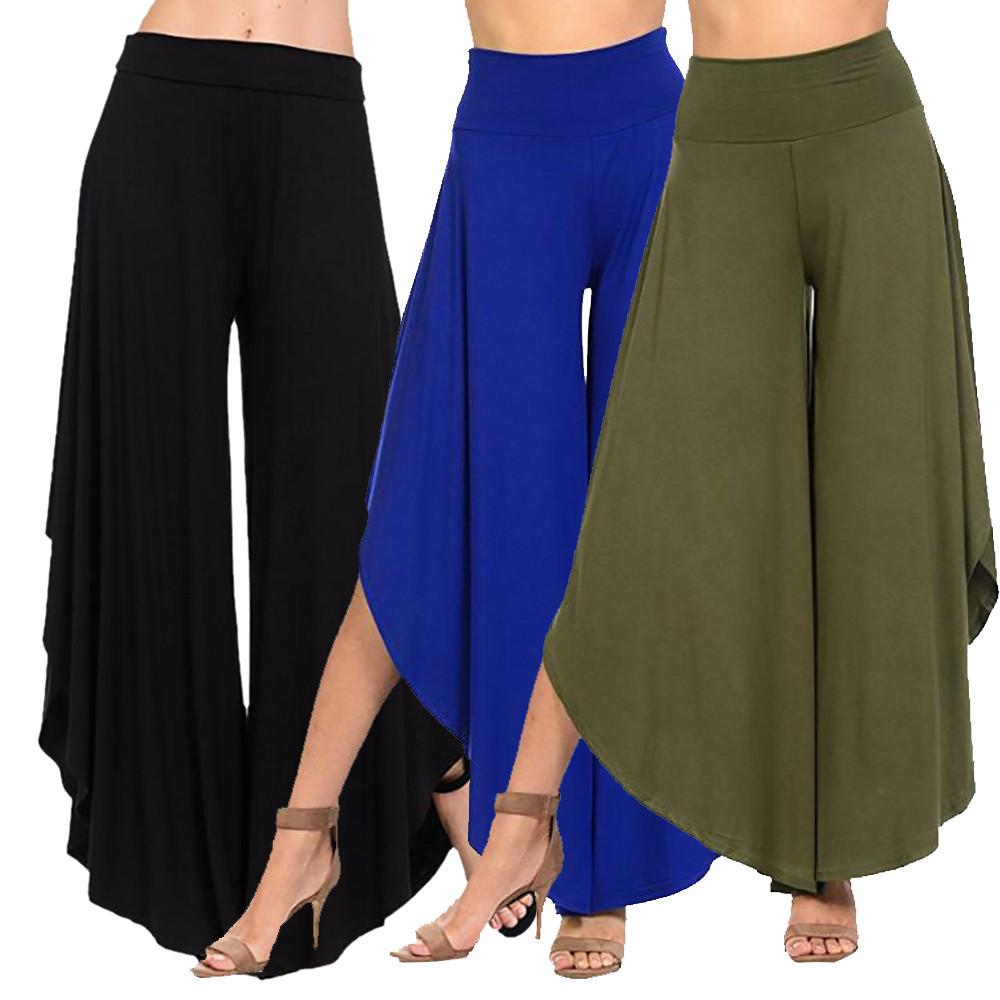 Compre Pantalones Anchos De Pierna Ancha De Las Mujeres Pantalones Anchos  De Cintura Alta Pantalones Anchos De Pierna El Más Nuevo Estilo Venta  Caliente ... d5470d54ae90