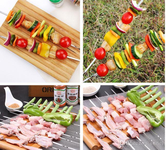 cariel Portable Picnic BBQ Barbeque Needle 35cm Camping Stainless Steel Grilling Party Kabob Kebab Flat lamb Skewers forks WN091B