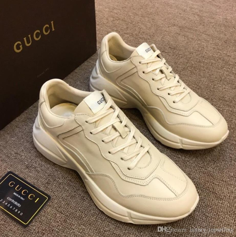 7b546cdda6be Best Selling Italian Luxury Brand Fashion Trainer Couples Running Sneakers  Mens Genuine Leather Rhyton Vintage Shoes Top Quality Sports Shoes Womens  Shoes ...