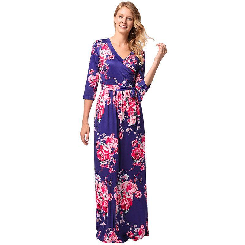 88fe275f58 Boho Maxi Dresses Women V Neck Half Sleeve Bohemia Women Elegant Floral Print  Long Party Beach Maternity Dresses Lace Dresses Green Dress From Body yep