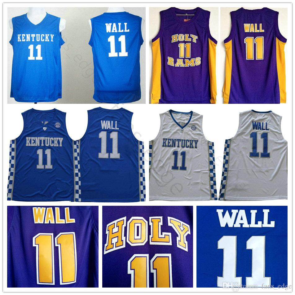 bb1118aa4ed ... shop 2018 ncaa holy rams high school 11 john wall purple basketball  jersey kentucky wildcats college ...
