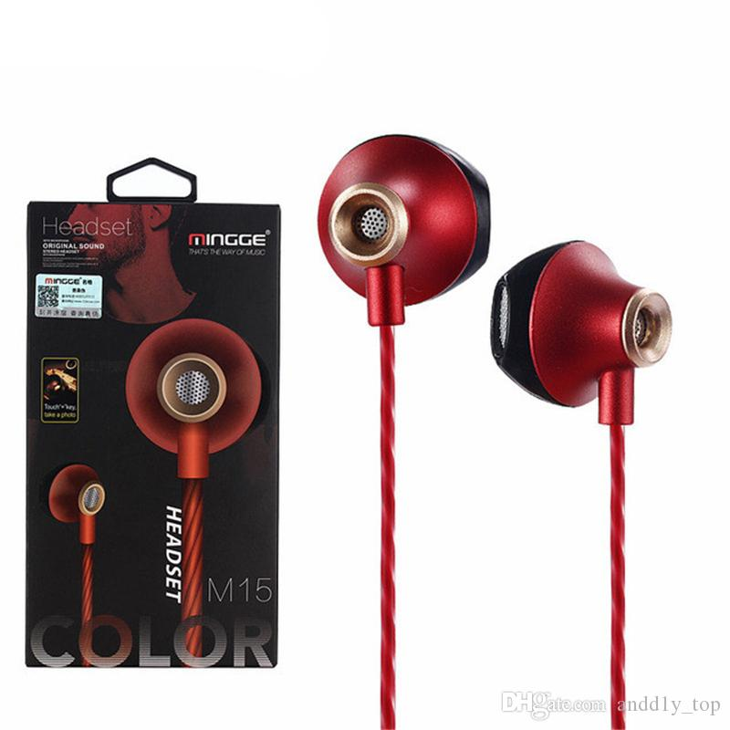 M15 Earphone Earphones Headphones Earbuds Headset For iPhone Samsung Phone In Ear wired With Mic Volume Camera Control 3.5mm With Retail Box