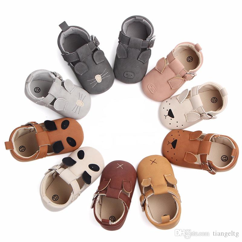 design de qualité f6aac 47496 Baby Animal Newborn Shoes Girls Boys Embroidery Piggy Puppy Kitten Mouse  Panda Buckle Strap Nubuck Leather Infant First Walkers 0-18M