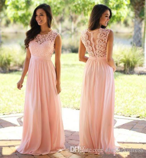 2018 Cheap Blush Pink Chiffon Sheer Neck Bridesmaid Dress Lace Top Zipper Back Floor Length Maid of Honor Wedding Guest Dresses Custoom Made