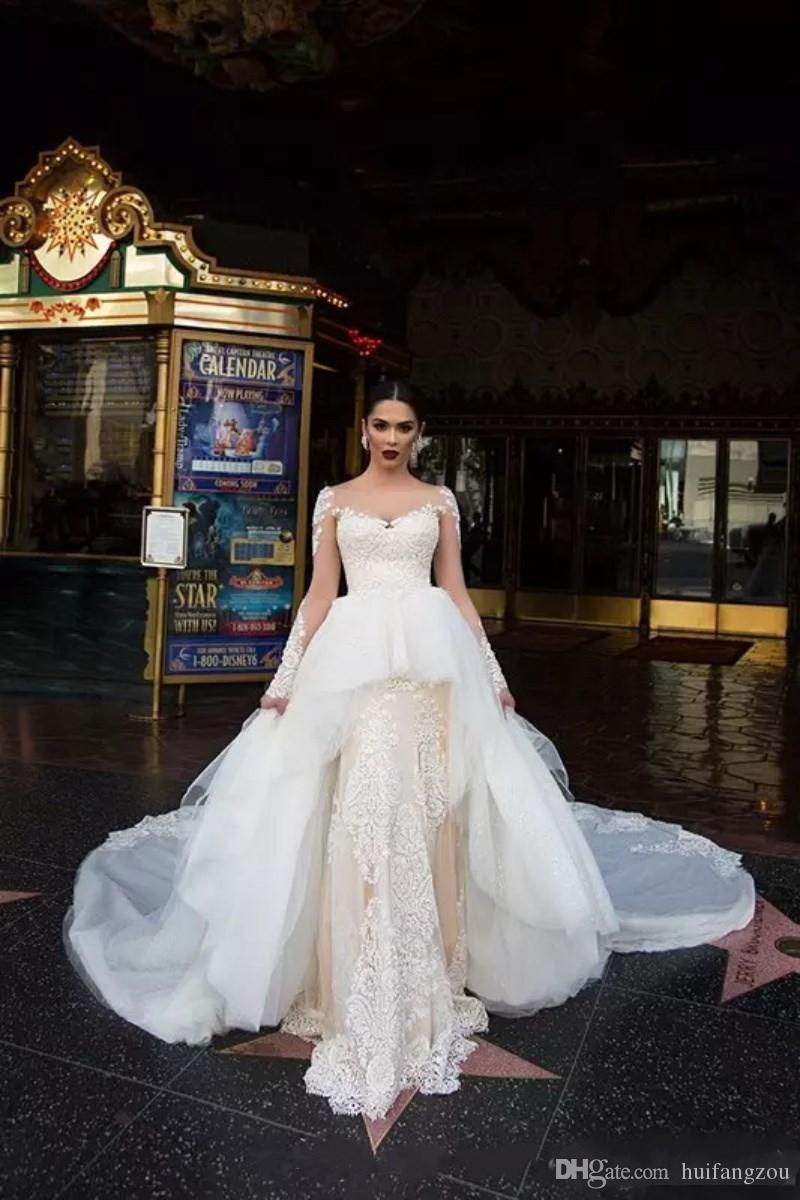 2018 Robes de Mariée Vintage Avec Manches Longues Overskirt Illusion Balayage Train Pays Robe De Mariée Dentelle Applique Plus La Taille Robe De Mariée