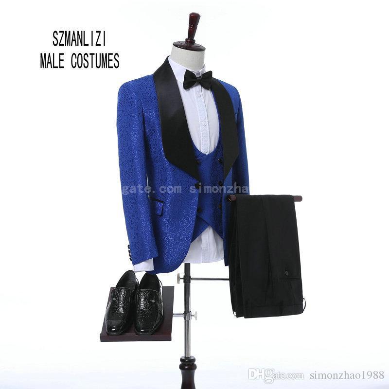 2018 Dernière Manteau Pantalon Conception Personnalisée Classique Bleu Royal Fleur Hommes Costumes De Mariage Meilleur Homme Blazer Marié Costume Smokings Prom Party Costumes