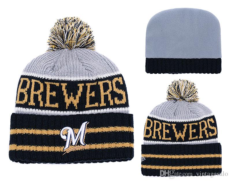 online store 4944b 7c29f ... purchase men woman 2019 milwaukee brewers beanie high quality baseball knit  hat cuffed knit caps blue
