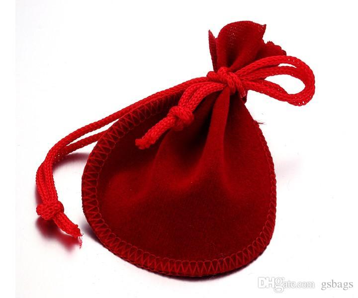 Bolsa de terciopelo con forma de calabaza roja Empaquetado de joyas Regalo de bolsas de tela para la boca