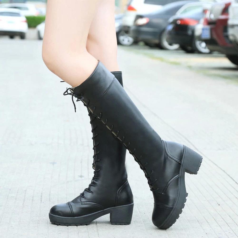 d9cee800 Compre Moda Lace Up Rodilla Botas Altas Mujer Otoño Cuero Suave Cuadrado  Negro Zapatos De Mujer De Tacón Venta Caliente A $49.81 Del Chingkee |  DHgate.Com