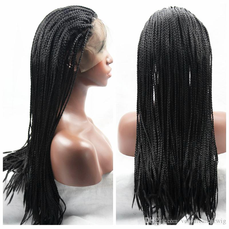Top Quality 30#1b#Brown Black Braided Wigs with Baby Hair Long Braids Wigs Glueless Synthetic Lace Front Wigs for Black Women Heat Resistant
