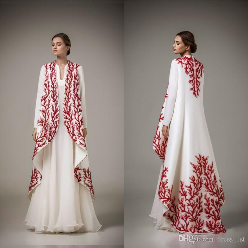 dbb4099380 Elegant 2018 Muslim Evening Prom Dress Long Sleeves A Line Floor Length  White Chiffon With Red Embroidery 2 In 1 Moroccan Kaftan Abaya Dresses Shop  Online ...