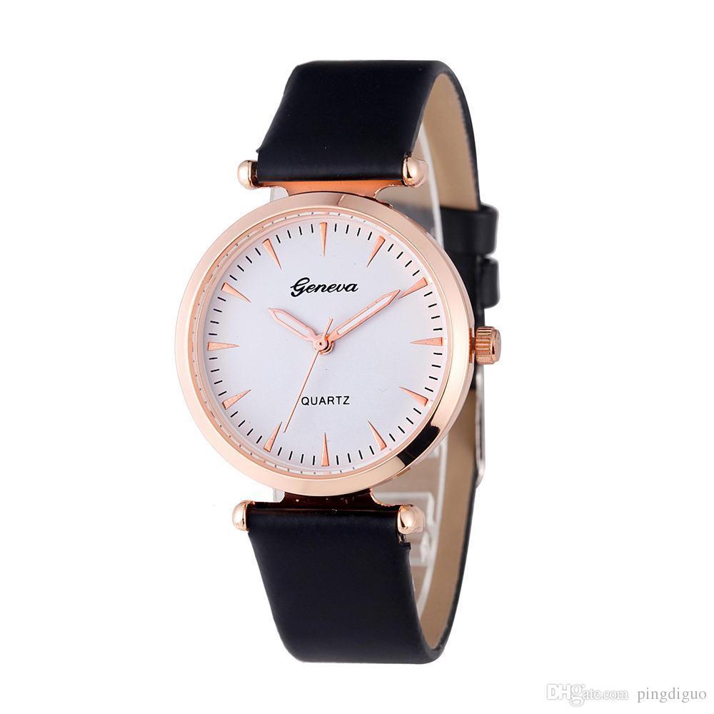 4e72be0596a3 Compre Relojes De Mujer Marca Ginebra Vestido De Moda Para Mujer Relojes  Cuero Mujer Reloj De Pulsera De Cuarzo Analógico Relojes Mujer A  5.59 Del  ...