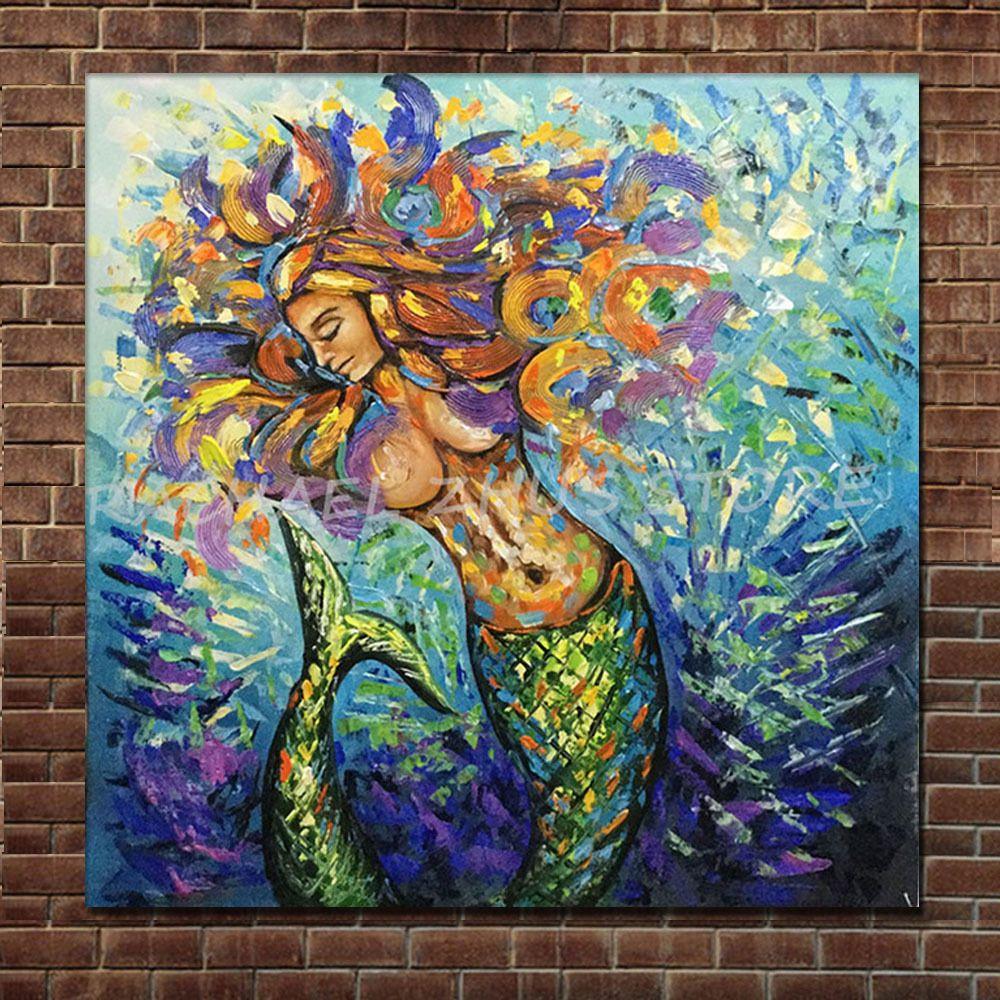best modern cartoon art oil painting mermaid thick texture on canvas