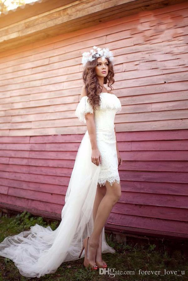 2019 Fairy Short Beach Wedding Dresses Off the Shoulder Lace Tulle Bohemian Sheath Bridal Gowns with Detachable Train Cheap High Quality