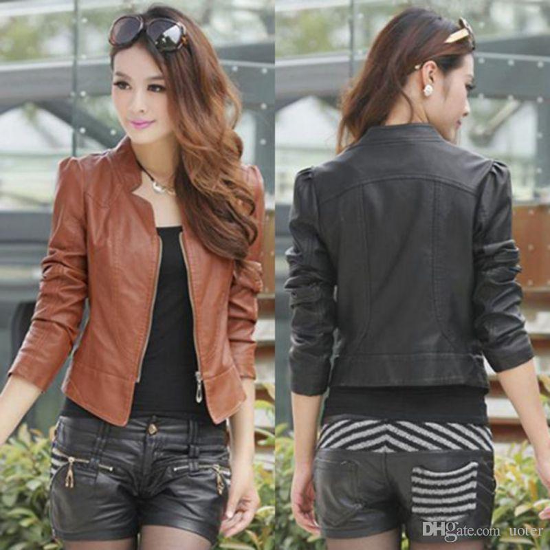 3b586585d79 Wholesale Autumn Winter Korean Women PU Leather Clothing Bomber Jacket  Female Slim Motorcycle Leather Coat Chaquetas Mujer Yo Bomber Jacket Coat  From Uoter
