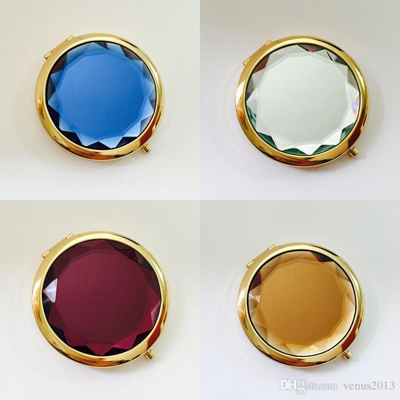 Regalos de publicidad de cristal dorado maquillaje de belleza espejos plegables bolso de bolsillo de oro de doble cara espejo compacto de viaje
