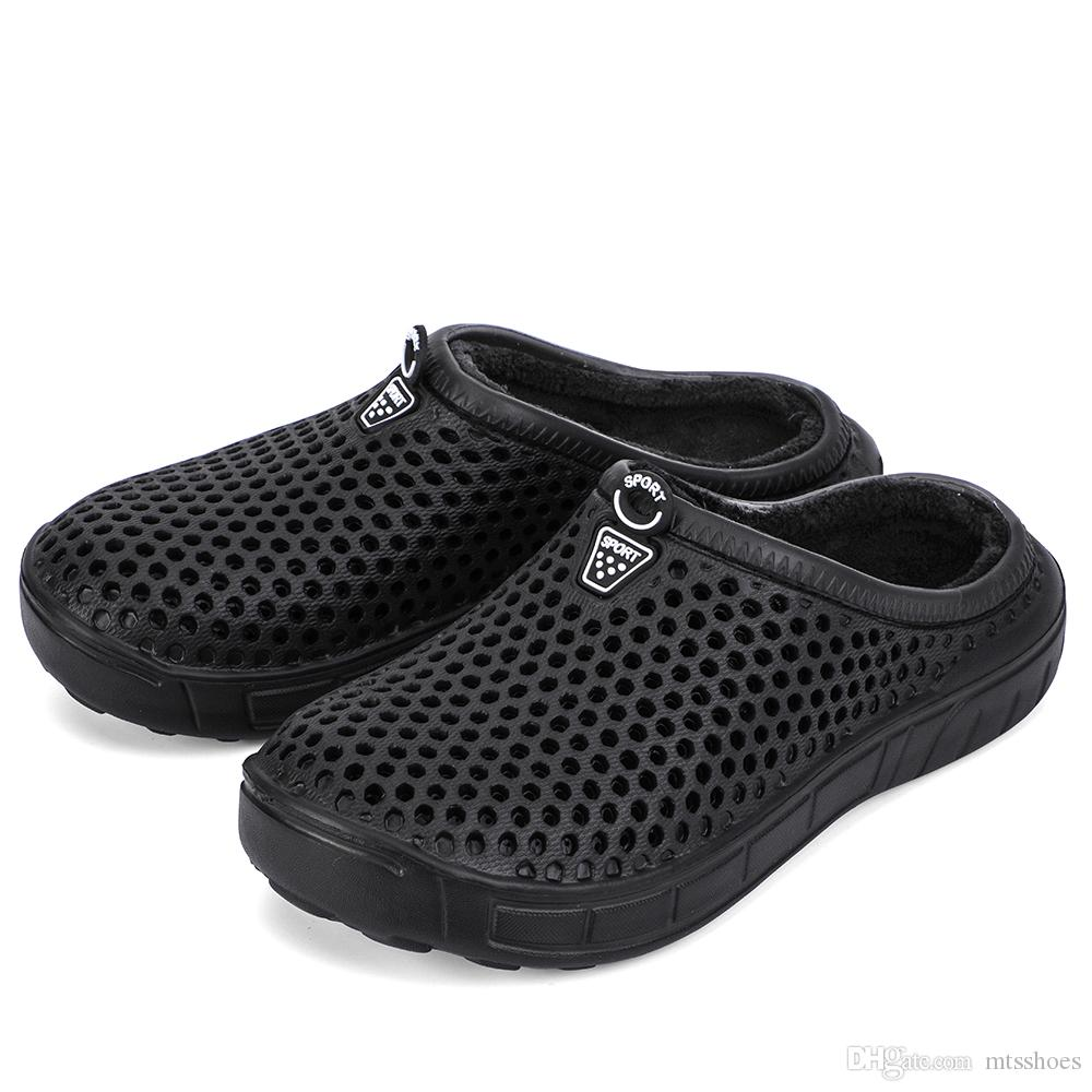 37ad477ea76e Mens Winter House Slippers Fur Lined Croc Garden Clogs Slip On Warm  Indoor Outdoor Shoes Comfort Breathable Moccasins Fur Boots Glass Slipper  From Mtsshoes