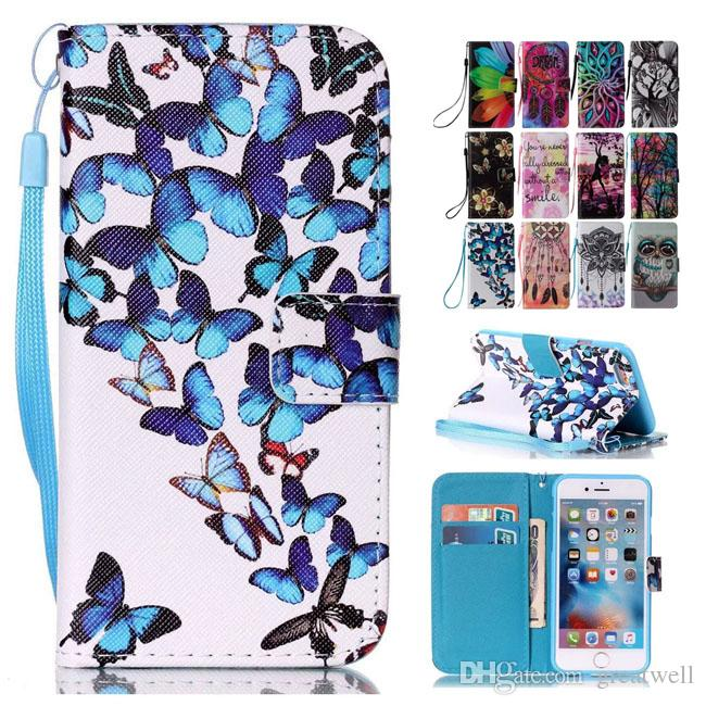 new style 6fc5f ed1c2 Dream Smile Owl Flower Painted Wallet Stand Cover Leather Case For iphone  5S 8 7 6S Plus S6 S7 Edge J3 J5 J7 A3 A5 A7