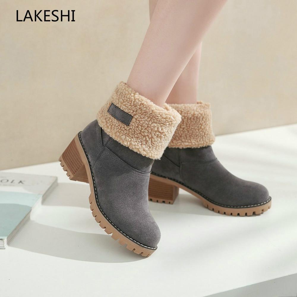 564d9a265 Compre LAKESHI Marca Mujer Botas Zapatos De Invierno Mujer Piel Caliente  Botas De Nieve Cuadrados Tacones Altos Tobillo Mujer Botas Mujer Tamaño 43  A  35.89 ...