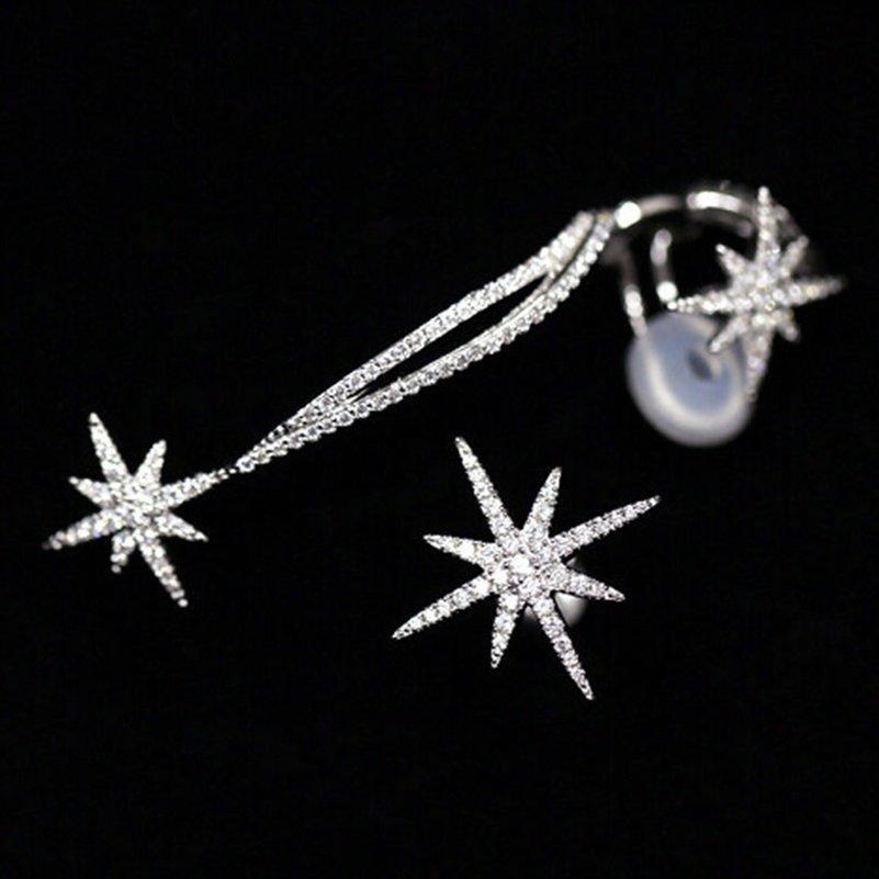 di cristallo di lusso di asimmetria del fiocco di neve della stella dell'orecchio d'argento Cuff catena placcata clip dell'involucro orecchini i monili di modo delle donne