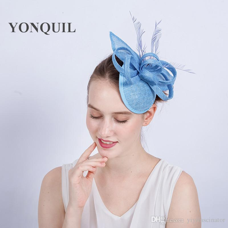 2018 New Design Gril Light Blue Chic Fascinator Hat Wedding Headpiece On  Hair Clips Feather Charming Millinery Women Holiday Headband SYF197 Hats  Women ... a59cc6005b0