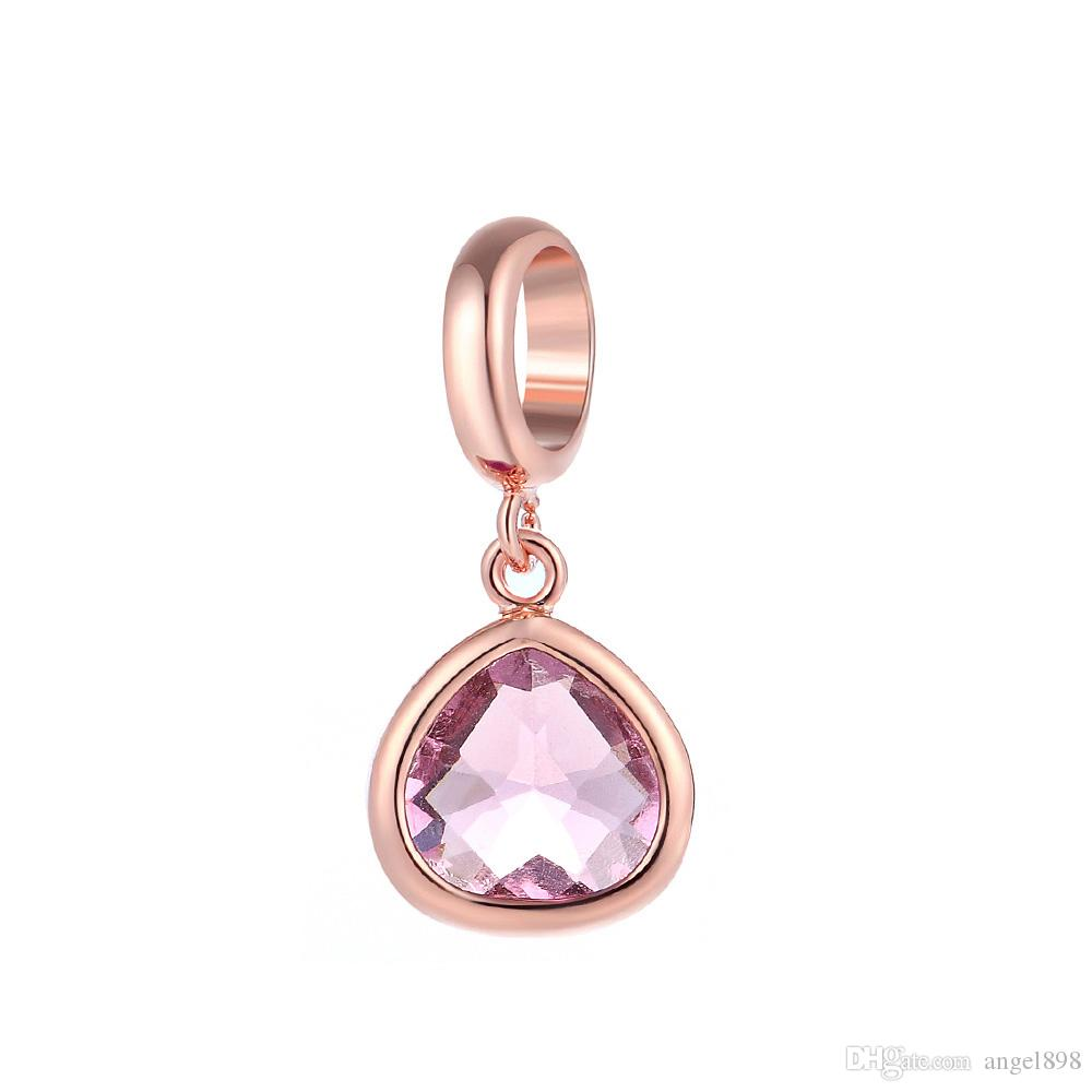 Angel bola Endless Charms Powder gem CZ Stone Gold Platinum Plated Copper Metal Interchangeable Jewelry