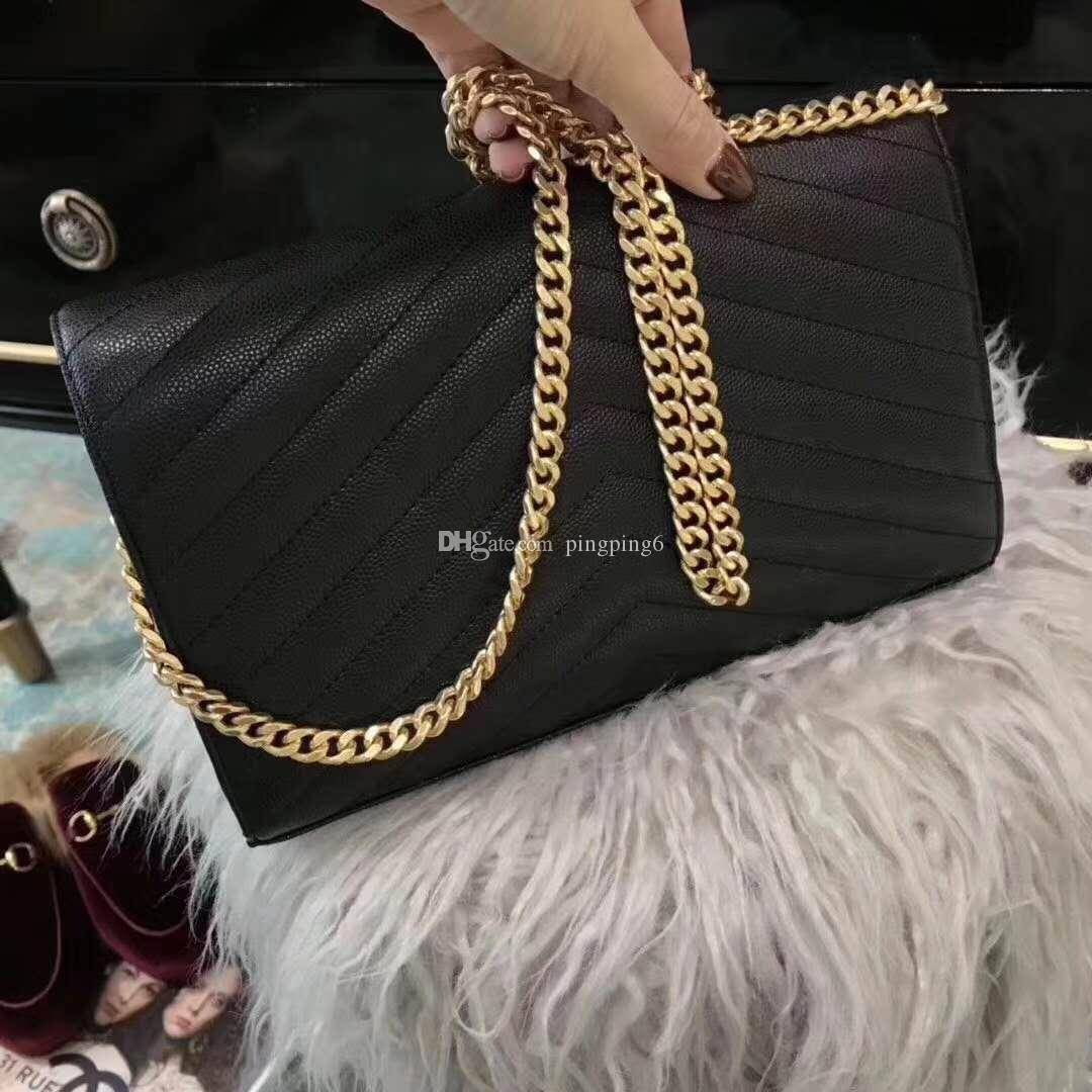 freeship famous brand top quality small bag women handbag messenger bag Caviar leather genuine leather bag chain stripe with box