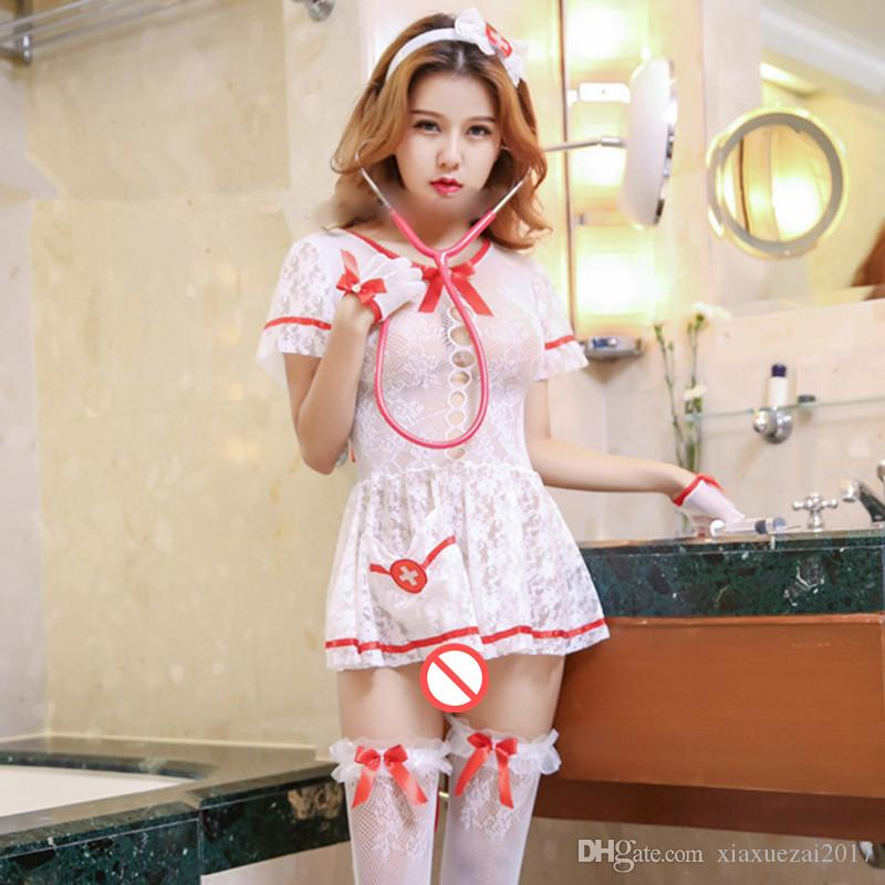 9a78a55f316 2019 Women Hot Erotic Costumes Role Play Lace Nurse Uniform Mini Dress Sexy  Erotic Lingerie Underwear Open Bra See Through Sex Porn Chemises From ...