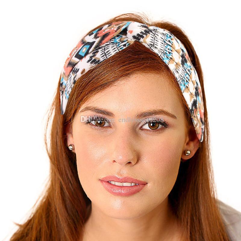 5a77c1b7e07 Yoga Print Twist Elastic Cotton Turban Headbands for Women Head Wrap ...
