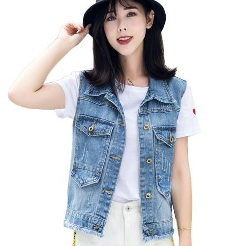 5f2ad6ba8a 2019 High Quality Denim Vest Women Summer Sleeveless Jeans Jacket Fashion  Vintage Waistcoat Plus Size Clothing Gilet Femme Chaleco From Regine