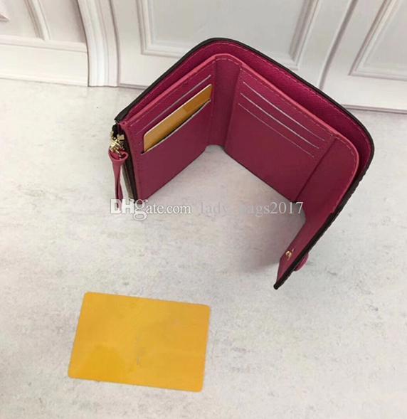 Las mujeres imprimieron el bolso de cuero de alta calidad de las mujeres clásicas corta el caramelo bolso de la carpeta de color 41938 bolsillo con cremallera Victorine