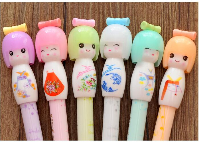 Wholesale-X17 4X Kawaii Kimono Japanese Girl Doll Gel Pen Writing Signing Stationery Creative Gift School Office Supply
