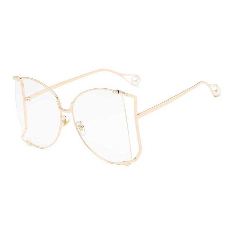 92df3b27b1 2018 Brand Designer Pearl Decoration Women Cat Eye Sunglasses Half Frame  Oversized Sun Glasses Ladies Ocean Glasses Retro Shades Designer Shades  Retro ...