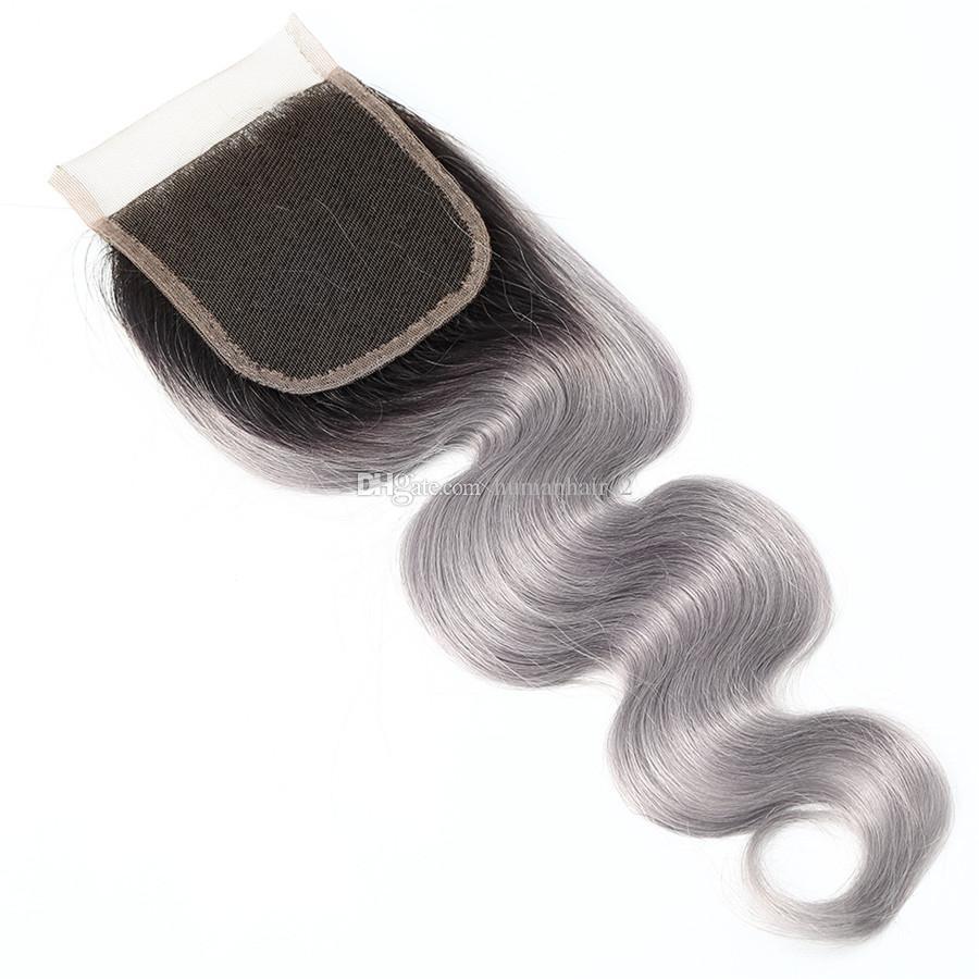 Koyu Kök 1B Gri Vücut Dalga Ombre Brezilyalı Bakire Insan Saç Uzantıları 3 Demetleri Ile 4x4 Dantel Kapatma Bebek Saç Ile Önceden ...