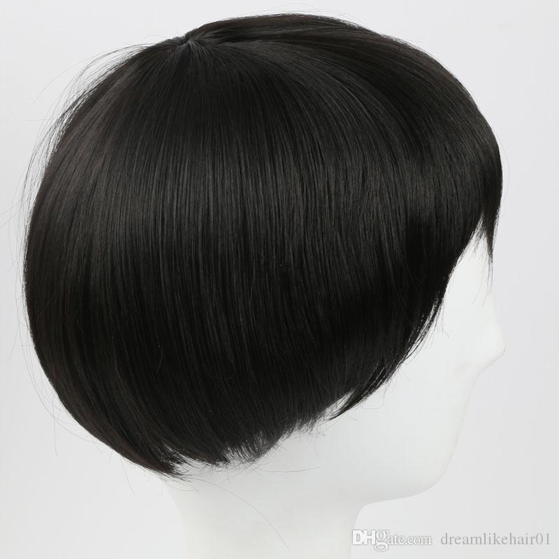 Classical Black Short Straight Synthetic Hair Wig for Women Men Celebrity Cosplay Party Hair Wig with Cap