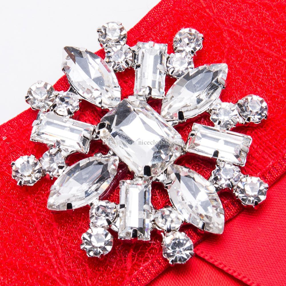 Red Acrylic Pin Brooch Flower Jewelry Gift Gold color Ethnic Promotion Bohe Cloth Art Crystal Bow Brooches for Women Clothing Accessories