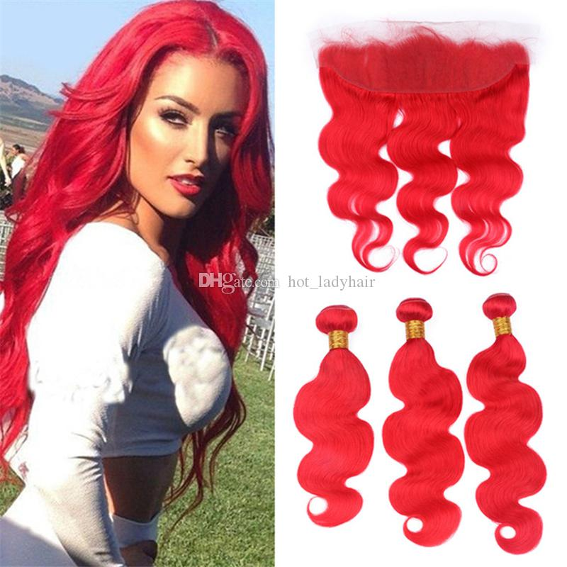 2019 Bright Red Human Hair 3 Bundles With Lace Frontal Closure Body