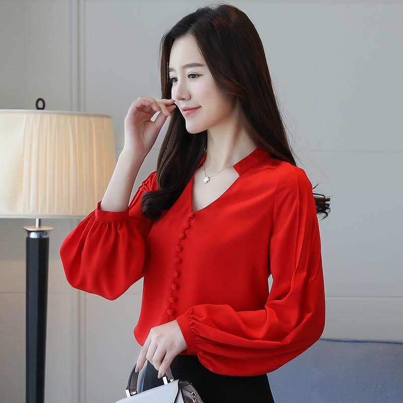 e6a88ab28e7e 2019 2018 Spring Long Lantern Sleeve V Neck Chiffon Blouses Women Office  Work Loose Chiffon Shirts Red Tops Solid White Tops From Movearound