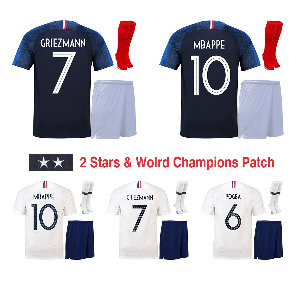 2018 World Cup 2 Stars Home Away Men Football Kit Soccer Sets of ... 2f7dea272