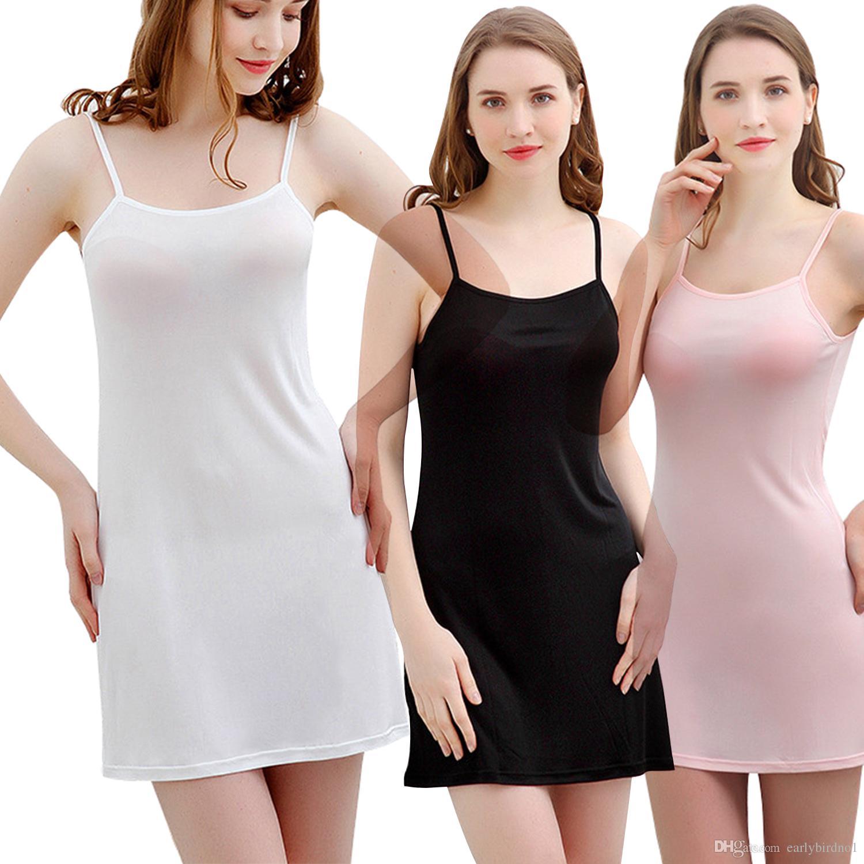 finest selection 8ed68 eea2f Sexy Dessous Damen Nachtwäsche Kleid Mode Seide Feste Chemise Nachthemd  Kleid Frau Spaghetti-Trägern Loungewear Pyjamas CPA1462