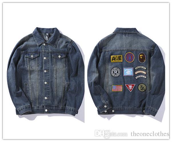 New Men s Denim Jackets Brand Design Tiger Shark Mouth Bandage ... a570f4ea1