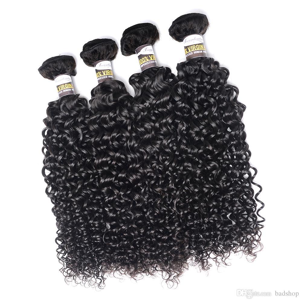 Brasilianisches verworrenes gelocktes Haar Brasilianisches gelocktes Gewebe-Menschenhaar bündelt Remy-freies Verschiffen natürliche schwarze Farbe 8