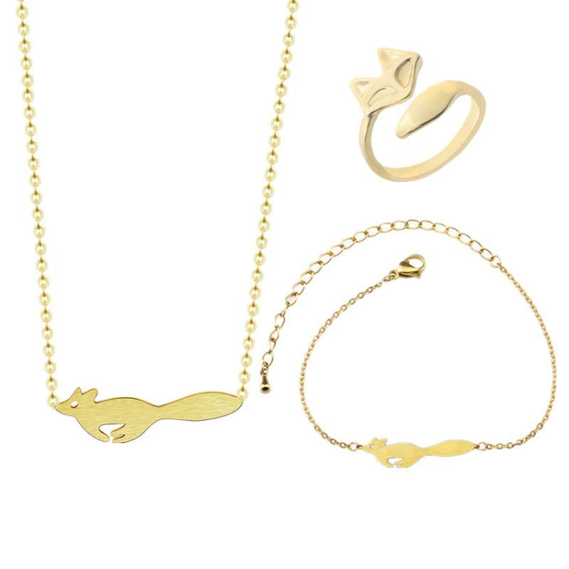 7ebb3f107cc2 Compre Woodland Jewelry Set Running Fox Collar Colgante Pulseras Del  Encanto De Acero Inoxidable Para Las Mujeres Anillos De Boda Collares Mujer  A  29.22 ...