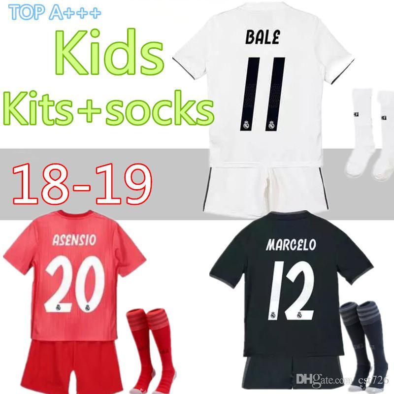 afcaebdc78 Acheter 18 19 À La Maison Troisième Maillot De Football Real Madrid Kit  Pour Enfants + Chaussettes Maillot 11 BALE 9 BENZEMA 20 ASENSIO 8 KROOS  Football ...