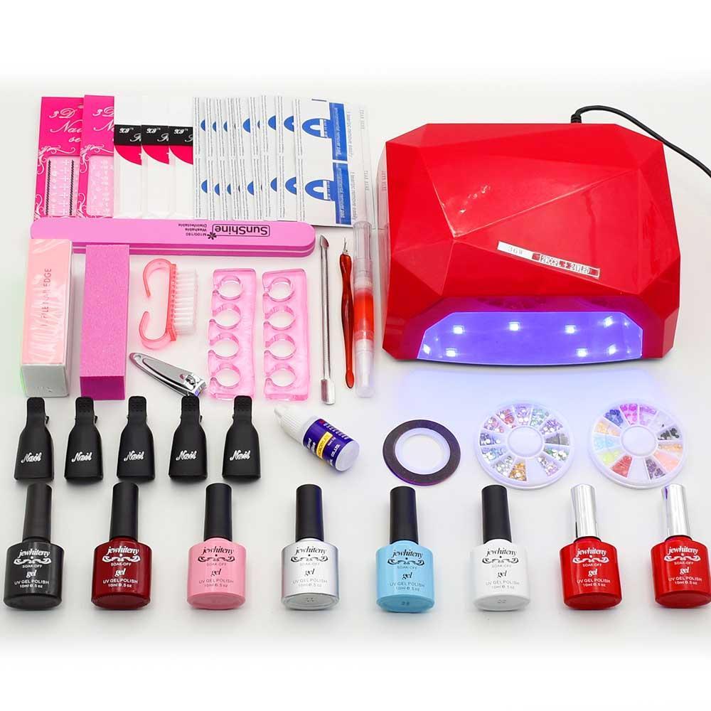 Nail Gel Varnish Polish Manicure Set With Uv Lamp Led Nail Dryer Art ...